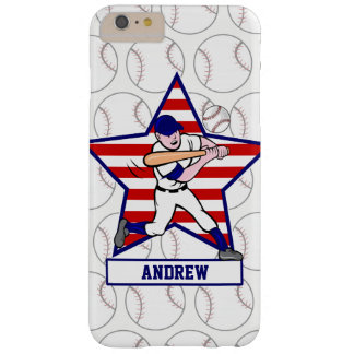 Personalized Stars and Stripes Baseball Batter v1 Barely There iPhone 6 Plus Case