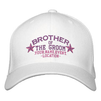 Personalized Stars Brother of the Groom in Pink Embroidered Hat