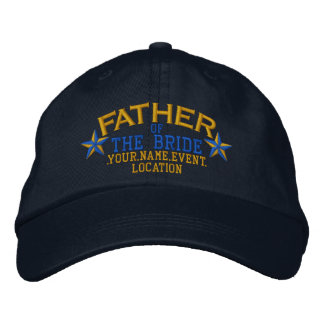 Personalized Stars Father of the Bride Gold Blue Embroidered Hat