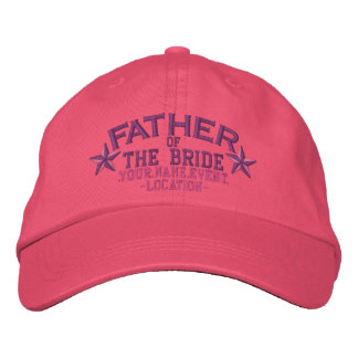 Personalized Stars Father of the Bride in Pink Embroidered Hat