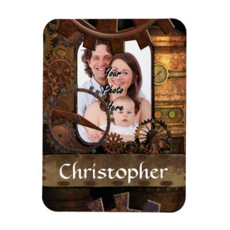 Personalized steampunk machinery rectangular magnets