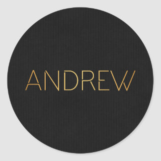 Personalized Stencil Font Andrew Gold on Black Classic Round Sticker