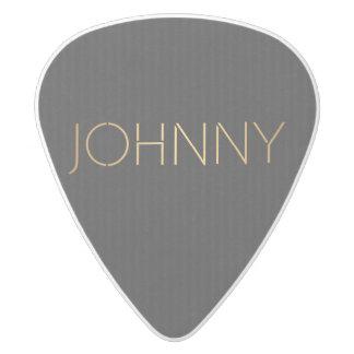 Personalized Stencil Font Johnny Gold Black White Delrin Guitar Pick
