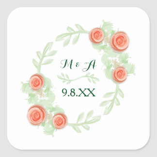 Personalized Sticker - Floral Rose Wreath - square