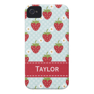 Personalized Strawberry iPhone 4 Case Blue