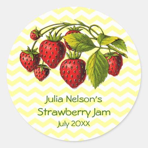 Personalized Strawberry Jam Jar Label Round Sticker
