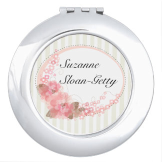 Personalized Stripes and Flowers Makeup Mirrors