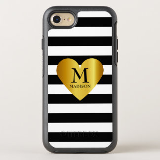 Personalized stripes and heart OtterBox symmetry iPhone 8/7 case
