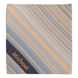 Personalized Stripes - Blue and Orange Bandana