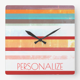 Personalized Stripes Square Wall Clock