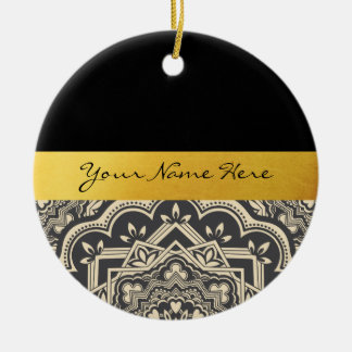 Personalized Stylish Black & Gold Mandala Ceramic Ornament