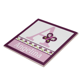 Personalized Sugar Plum Butterfly Letter Name Tile