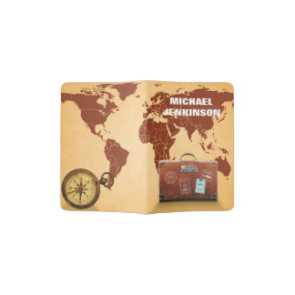 Personalized Suitcase and Compass Map of the World Passport Holder