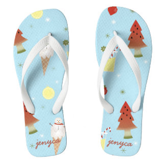 Personalized Summer Christmas in July Flip Flops