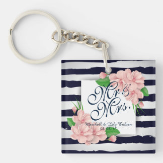 Personalized Summer Floral Wedding Keychain