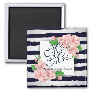 Personalized Summer Floral Wedding | Magnet