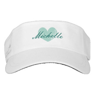 Personalized sun visor cap with vintage aqua heart