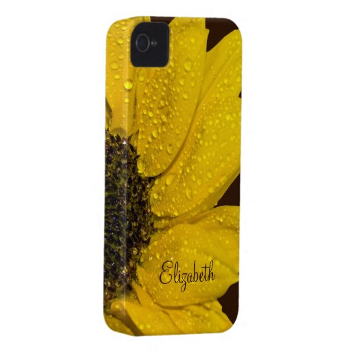 Personalized Sunflower Floral iPhone 4 Case