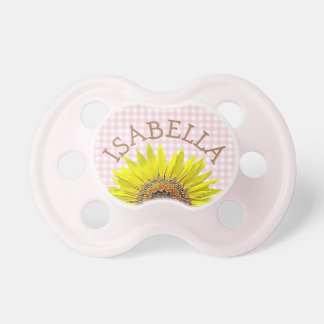 Personalized sunflower  Pink Gingham Pacifier