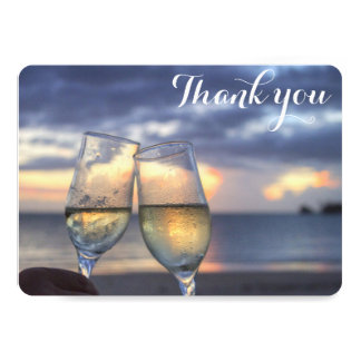 Personalized Sunset Beach Wedding Thank You Cards 13 Cm X 18 Cm Invitation Card
