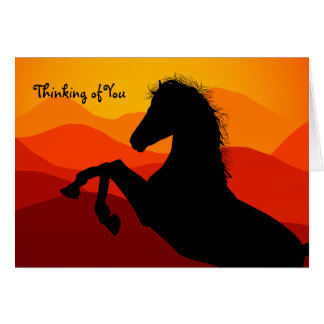 Personalized Sunset Mustang Silhouette Card