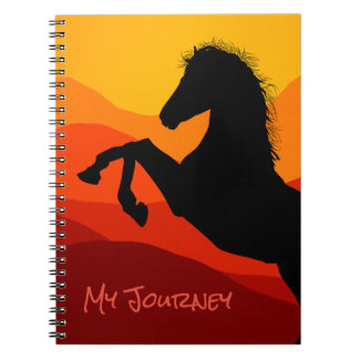 Personalized Sunset Mustang Silhouette Notebooks