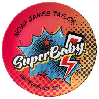 Personalized SuperBABY keepsake plate, superhero Plate