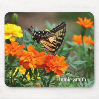 Personalized Swallowtail Butterfly on Flowers Mouse Pad