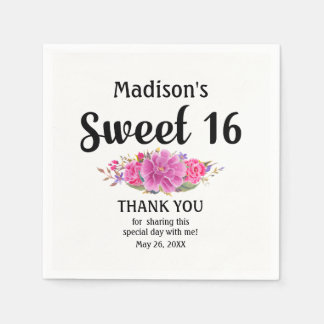 Personalized Sweet 16 Pink Floral Sweet Sixteen Paper Napkin