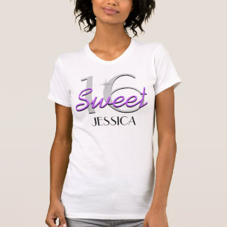 Personalized Sweet 16 Purple Sparkle T-Shirt