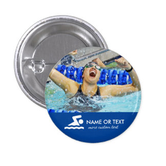 Personalized Swimming Photo Swimmer & Team Name 3 Cm Round Badge