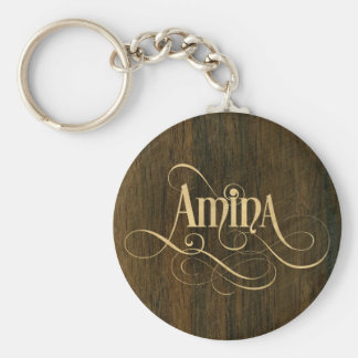 Personalized Swirly Script Amina Wood Veneer Key Ring