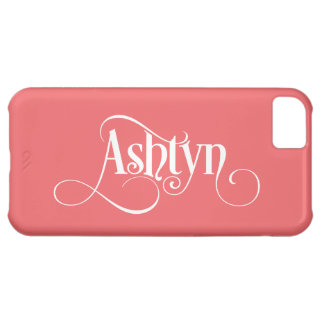 personalized Swirly Script Ashtyn White on Pink iPhone 5C Case