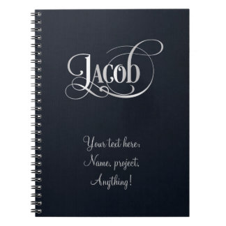 Personalized Swirly Script Jacob Silver on Indigo Notebook