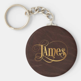 Personalized Swirly Script James Gold on Leather Key Ring