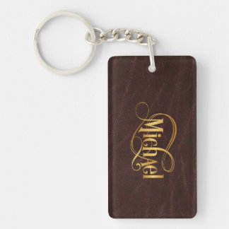 Personalized Swirly Script Michael Gold on Leather Key Ring