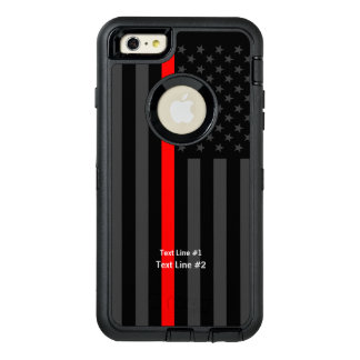 Personalized Symbolic US Flag Thin Red Line on OtterBox Defender iPhone Case