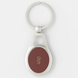 Personalized Tall Elegance Gold Adila Silver-Colored Oval Key Ring
