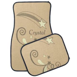Personalized Tan White Shooting Stars Flourish Car Mat