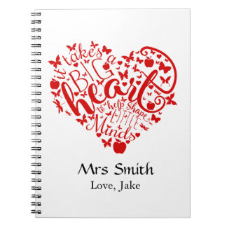 Personalized Teacher Apple thank you notebook