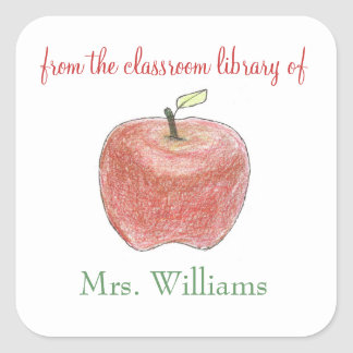 Personalized teacher gift bookplates square sticker