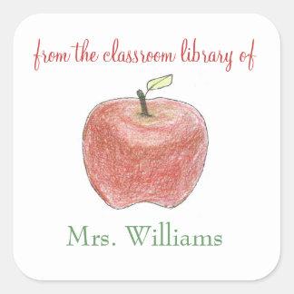 Personalized teacher gift bookplates square sticker