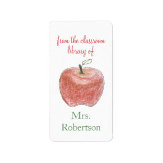 Personalized teacher gift bookplates with apple label