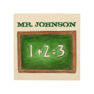 Personalized Teacher Gift School Slate Chalkboard Wood Print