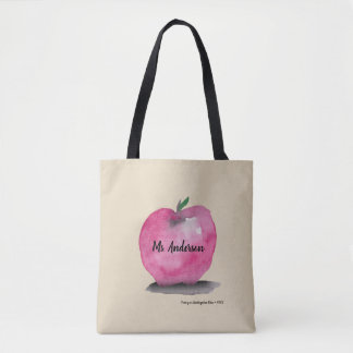 Personalized Teacher name, Apple, students Tote Bag