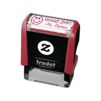 Personalized Teacher Smiley Face Reward Stamp
