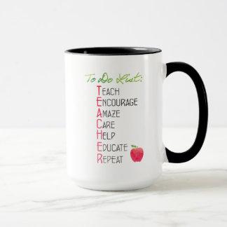 Personalized Teacher To Do List Watercolor Apple Mug