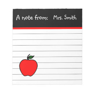 Personalized Teacher's Apple Notepad Gift