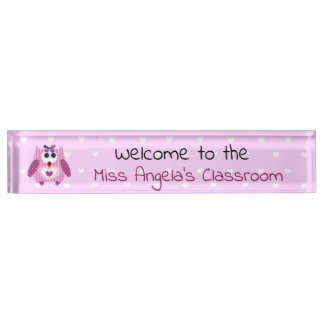 Personalized Teacher's Baby Owl Name Plate Sign