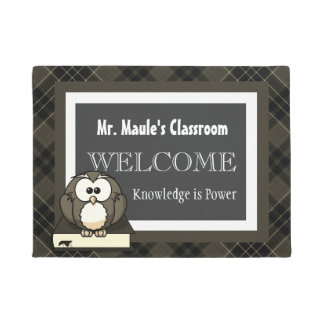 Personalized Teachers Brown Plaid Welcome Doormat